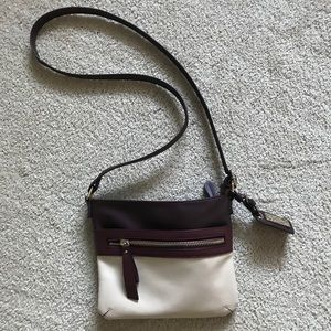 Maroon/cream satchel